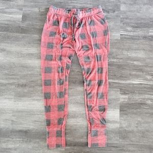 Red Grey Checkerboard High Waisted Jogger Pant